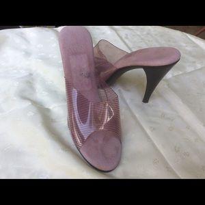 Vintage Purple Vinyl Nude Springalator  Heels 7M